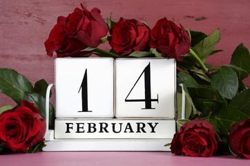 Valentine Day vintage wood calendar for February 14