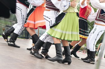 Fragment of Slovak folk dance with colorful clothes