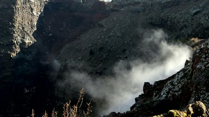 Smoking crater of the volcano