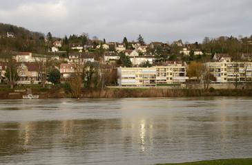 France, the picturesque city of Triel sur Seine in winter