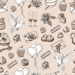 Vector seamless pattern with wedding elements