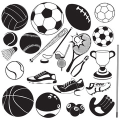 sport ball black vector icons