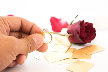 Dimond Ring in Hand  Love concept