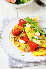 omelet with vegetables and blue cheese