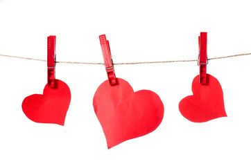 Valentines day paper heart on a rope