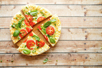 mouthwatering pizza with tomatoes, top view
