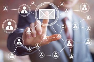Businessman pressing online messaging mail web sign sending