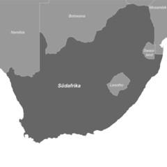 Südafrika in Graustufen (beschriftet)