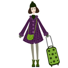 girl with green suitcase goes on a journey