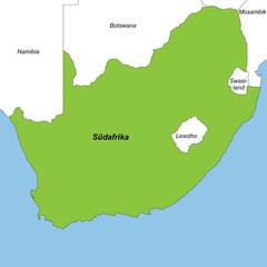 Südafrika in weiß und grün (beschriftet)