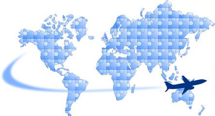 mapa świata puzzle i samolot
