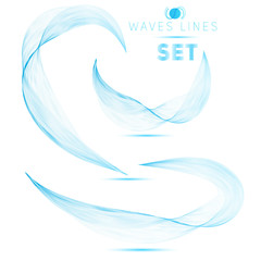 great set blue blend waves abstract background for design vector
