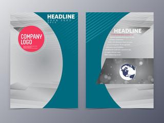 blue green modern flyer design template vector tri-fold