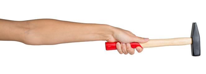 Female hand holding hammer