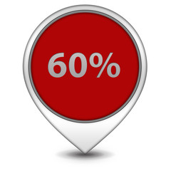 Sixty percent pointer icon on white background