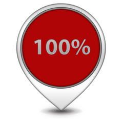 Hundred percent pointer icon on white background