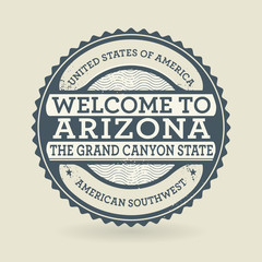Grunge rubber stamp with text Welcome to Arizona, USA