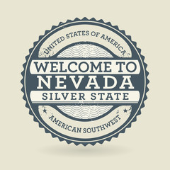 Grunge rubber stamp with text Welcome to Nevada, USA