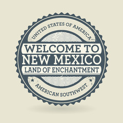Grunge rubber stamp with text Welcome to New Mexico, USA
