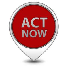 Act now pointer icon on white background