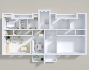 3d rendering of double apartment with furnishings