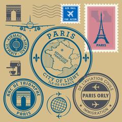 Travel stamps set, Paris theme, vector