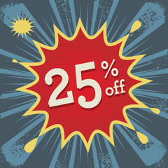 Explosion with text 25 percent off, vector