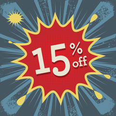 Comic explosion with text 15 percent off, vector