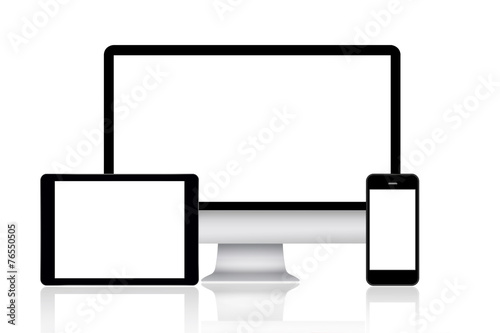 Computer monitor, tablet and smartphone - 76550505
