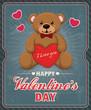 Vintage Valentine poster design with teddy bear