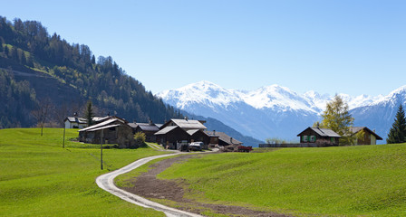 Small farm in Swiss alps. Bodmen, Valais, Switzerland