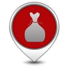 Money bag pointer icon on white background