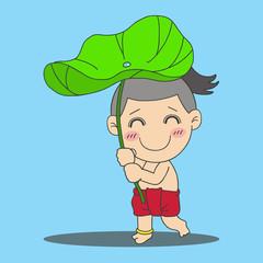 boy with lotus leaf