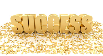 Success with stars on white background - High quality 3D Render