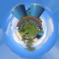 Blue industrial planet