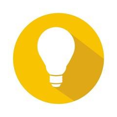 Icono bombilla amarillo botón sombra