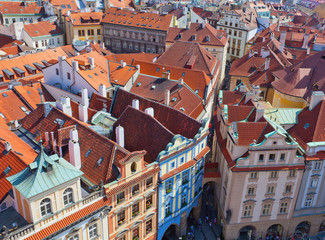 Top view on one of ancient streets of Prague, Czech Republic