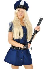 Frau in Polizei Kostüm zu Karneval