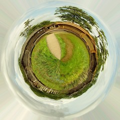 Planet with log huts