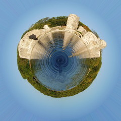 Planet with castle ruins