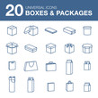 Icons boxes and Packaging simple linear style - 76552979