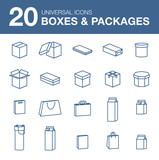 Icons boxes and Packaging simple linear style