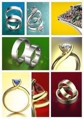 Ring with Diamond. Jewelry background. Valentine day