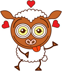 Cute sheep showing red hearts and feeling crazy in love