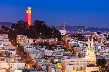 Coit Tower in Red and Gold