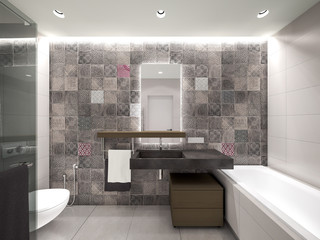 grey bathroom 3D rendering