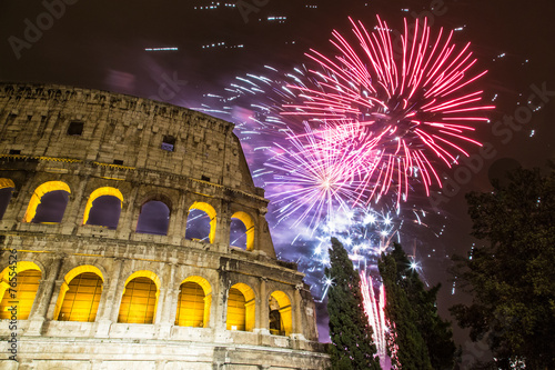Fotobehang Rome Fireworks for new year near the Colosseum - Rome