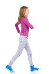 Happy girl walking