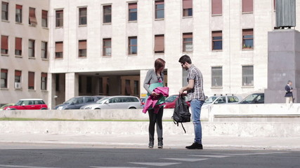 nerdy shy boy tries to win over a beautiful girl - love - nerd