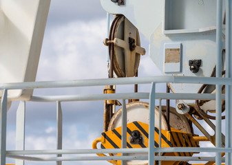 Yellow and Black Pulley on Industrial Ship